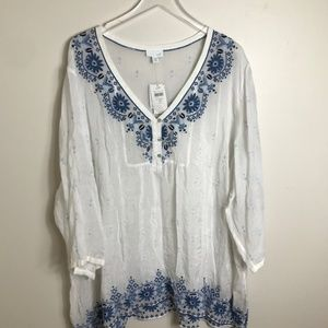 NWT J. Jill White and blue Embroidered top size 4x